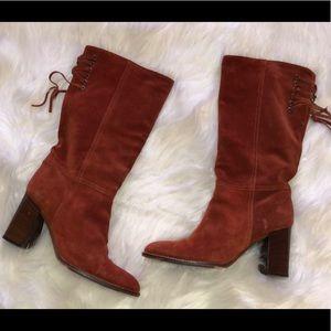 COACH Orange Suede Leather Mid Calf Heel Boots